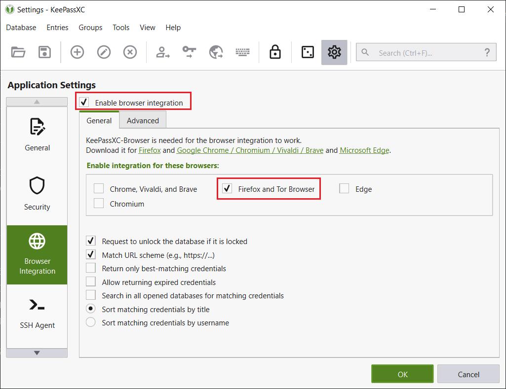 Activer l'intégration dans le navigateur dans KeePassXC