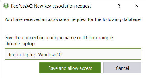 Nouvelle connexion depuis KeePassXC-Browser