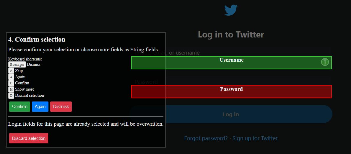 Choix de champs username/password dans une page web quand les champs ne sont pas directement détectés
