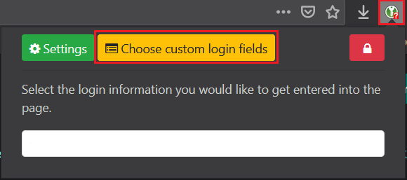 Bouton Choose custom login fields