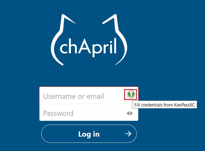 Bouton KeePassXC-Browser pour entrer automatiquement le nom d'utilisateur et le mot de passe sur une page internet