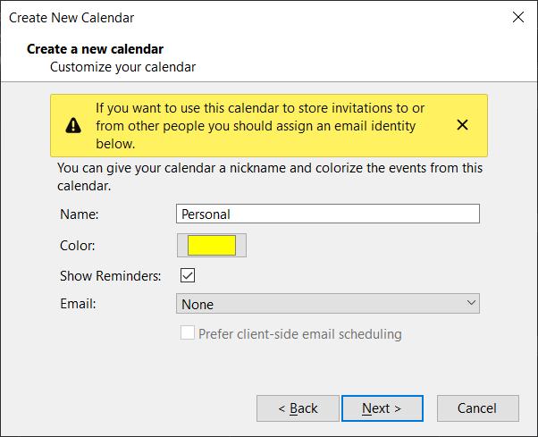 Nom, email, couleur associé au calendrier dans Thunderbird